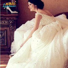 2016 Gorgeous Ball Gown Cap sleeve square collar Pearls Wedding Dress Charming Bow Beaded Chapel train