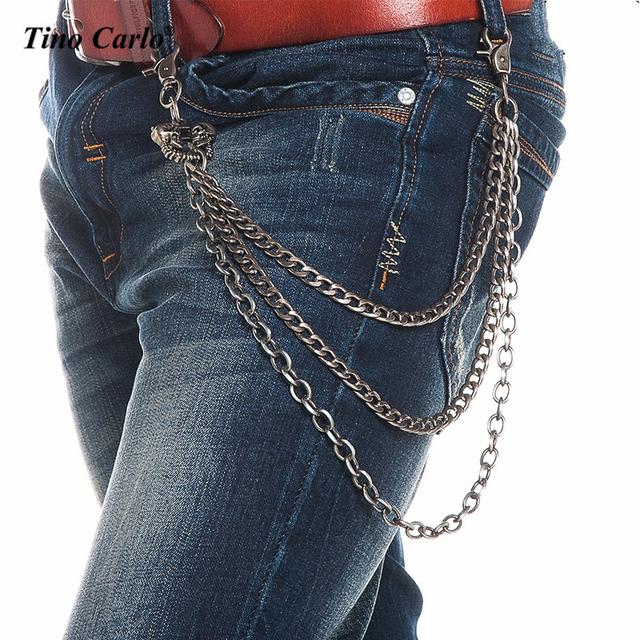 Hombres Pesado 3 Strands Gunmetal Roca 3D Dos Cabeza Del Cráneo cartera Llavero Cadenas Punk Esqueleto Jeans Cadenas de Hip Hop Accesorios KB72