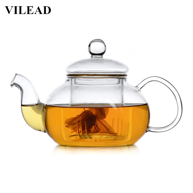 VILEAD Handmade Heat-Resistant Borosilicate Glass Thick Tea Pot Filter Chinese KungFu Teapot Scented Afternoon Accessory