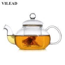 VILEAD Handmade Heat Resistant Borosilicate Glass Thick Tea Pot Filter Chinese KungFu