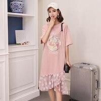 Pink Maxi Long T Shirt Women Patchwork Lace Harajuku Kawaii Cute Funny T Shirts Twenty One