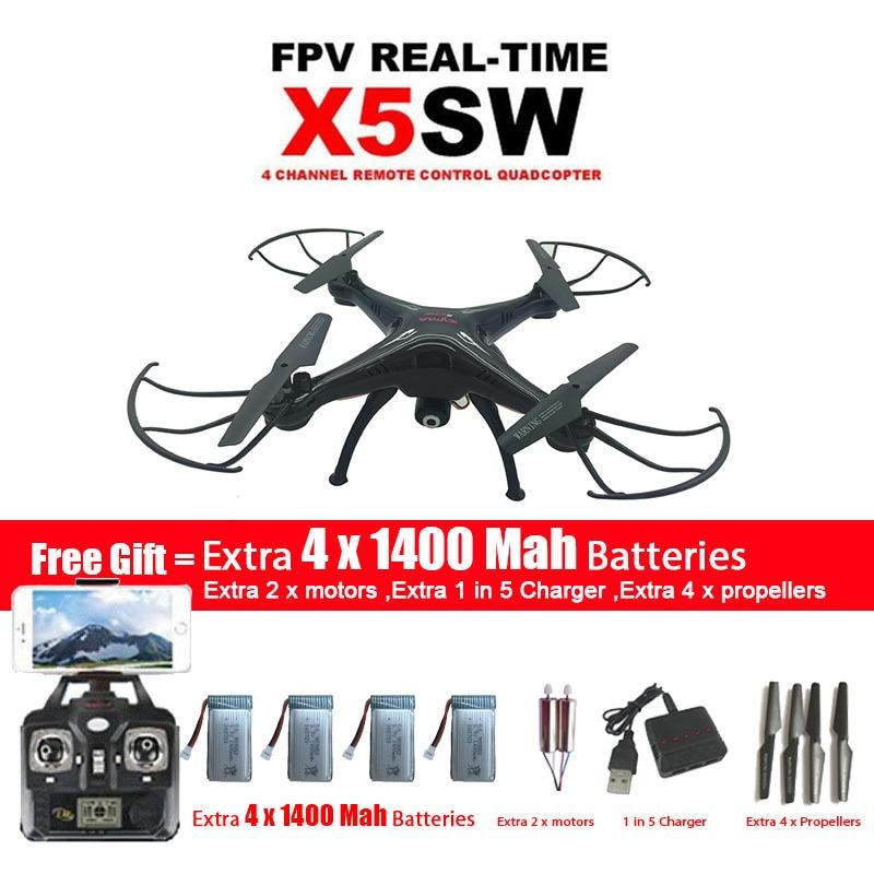 SYMA x5sw/x5sw-1 WI-FI Drone Quadcopter с FPV-системы Камера Безголовый 6 оси реального времени вертолет Quad вертолет с 5 Батареи