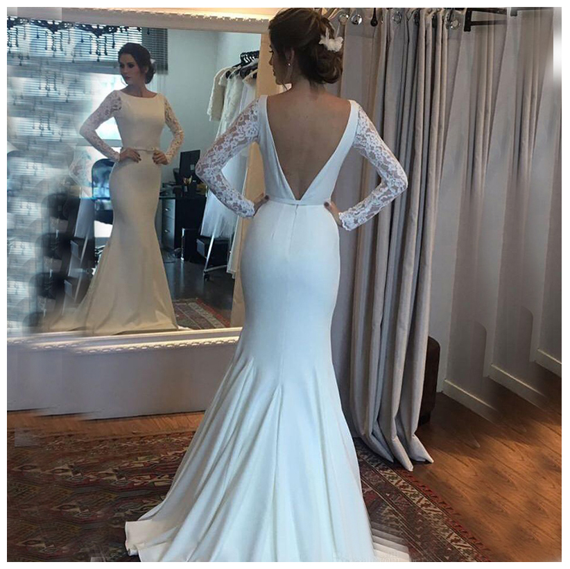 SoDigne 2019 Wedding Dress Long Sleeves Lace Mermaid Bride Dresses Sexy White / Ivory Buttons Back Beach Bride Dresses