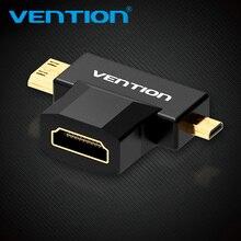 Prévention Mini HDMI/Micro HDMI vers HDMI adaptateur convertisseur 2 en 1 3D 1080P mâle à femelle pour TV moniteur projecteur caméra