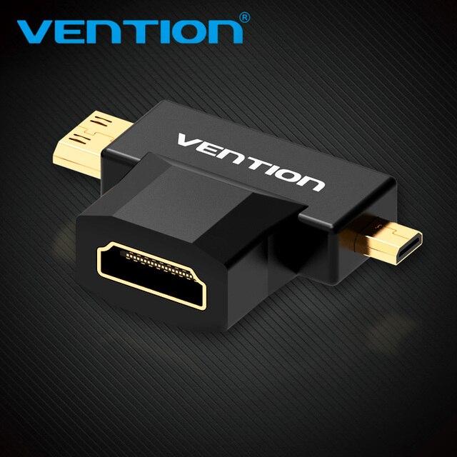 Vention mini hdmi/micro hdmi para hdmi adaptador conversor 2 em 1 3d 1080 p macho para fêmea para tv monitor projetor câmera
