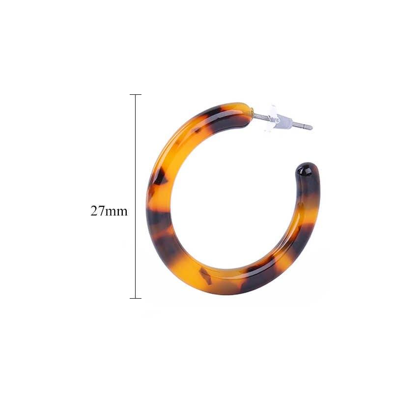 2019 Fashion Simple Bohemian Acrylic Earrings Jewelry for Women Statement Round C Hoop Earrings Female Leopard Earring Wholesale