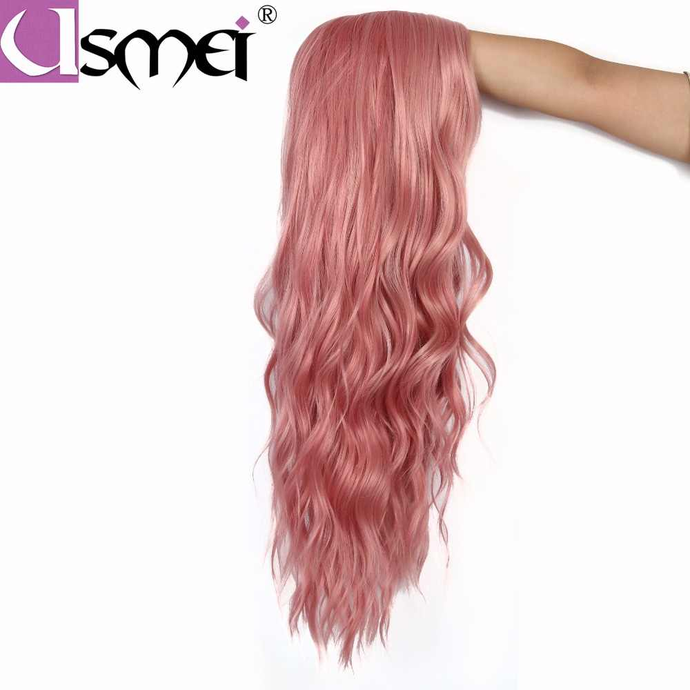 USMEI волосы длинные волнистые синтетические парики 7 цветов для женщин розовый блонд черный Омбре brownFull Искусственные парики для женщин 24 дюйма