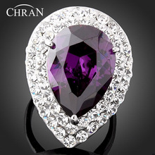 Chran Promised Lovely Heart Crystal Rings Jewelry Elegant Cubic Zirconia Engagement Wedding for Women