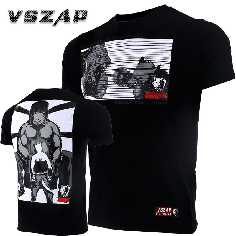 Vszap New Compressed Boxing For Men Cotton Short Sleeve Kickboxing Training Top-Tees T-shirt Jerseys MMA Boxingkick Muay Thai