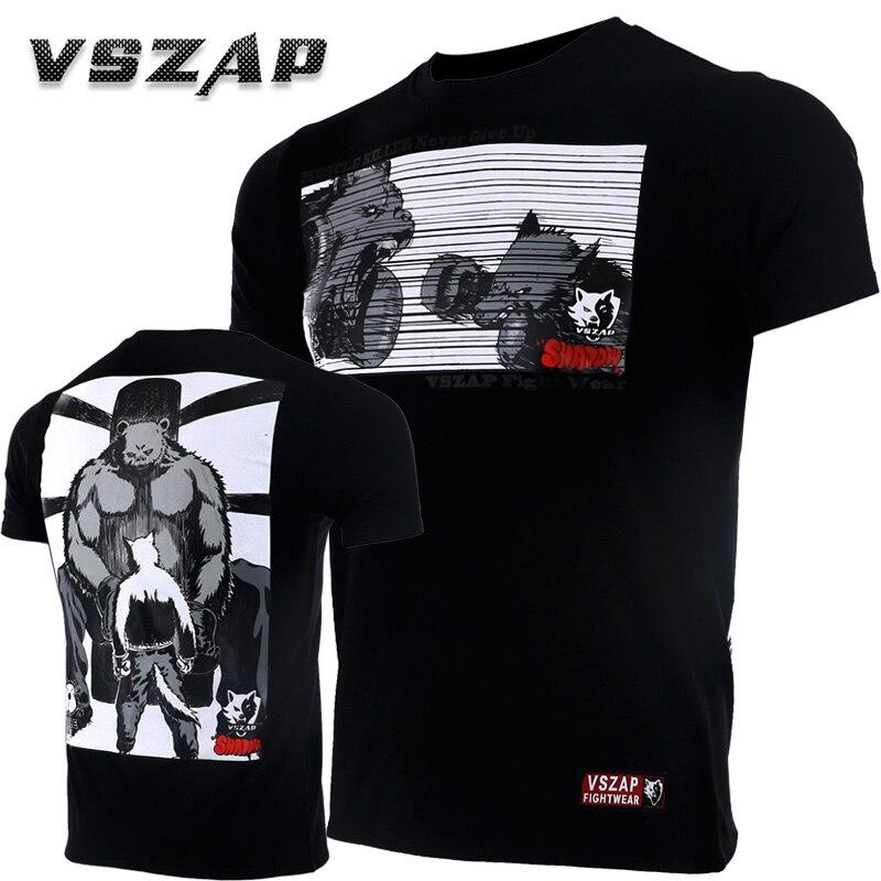 Vszap New Compressed Boxing For Men Cotton Short Sleeve Kickboxing Training Top-Tees T-shirt Jerseys MMA Boxingkick Muay Thai