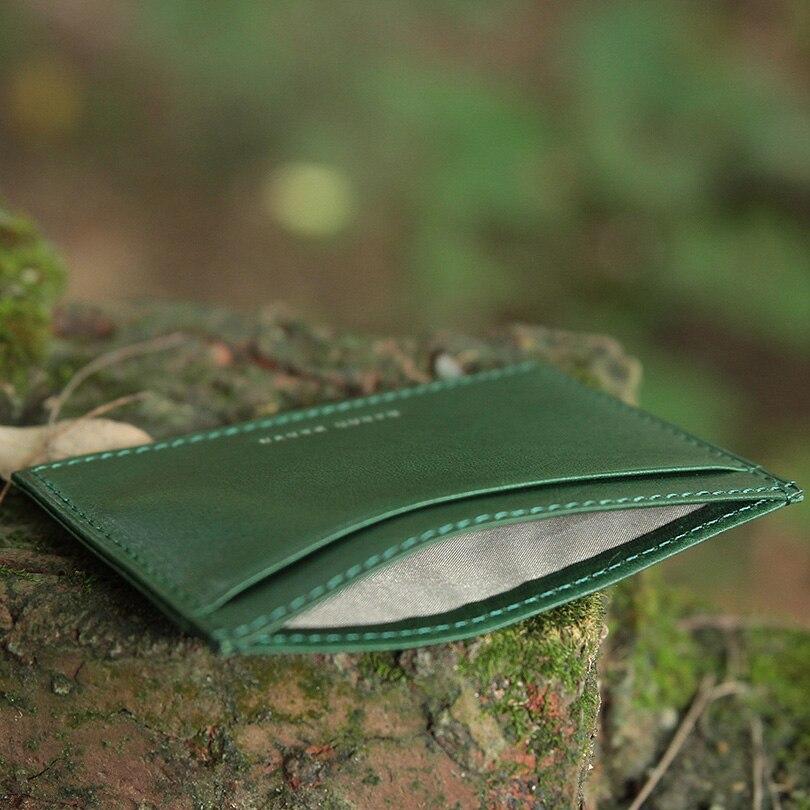 Hiram Beron RFID Blockering Läder Kort Hållare Män Custom ID Mini - Plånböcker - Foto 6