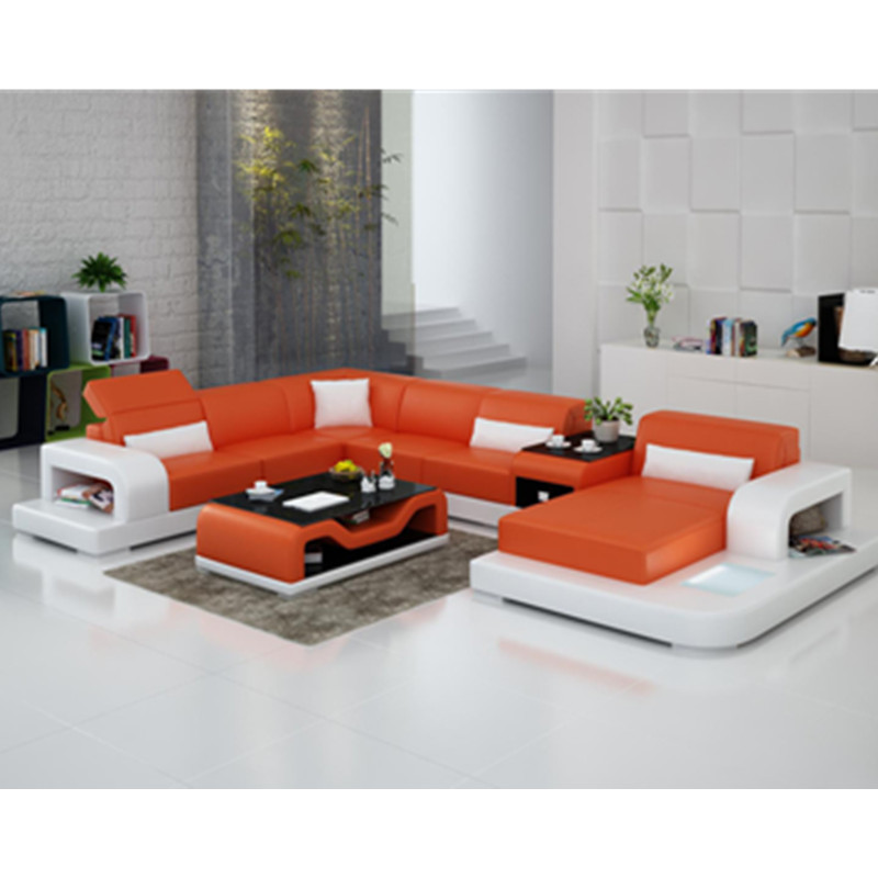 US $1466.0 |Bright orange U Shaped Recliner Leather Sofa, Sectional Corner  Sofa,Living Room Sofa-in Living Room Sofas from Furniture on AliExpress -  ...