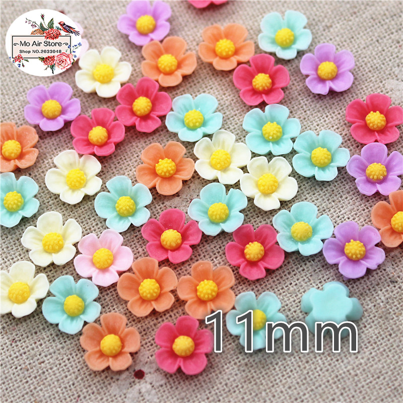 50pcs 11mm Mixed Light-Colored Flower Resin Flatback Cabochon DIY Jewelry/phone Decoration No Hole