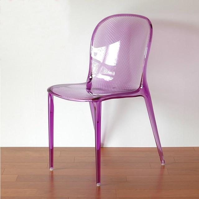 Popular Modern Design Minimalist Polycarbonate Transparent Chair Clear  Smoke Dining Chair Fashion Plastic Restaurant Loft Chair