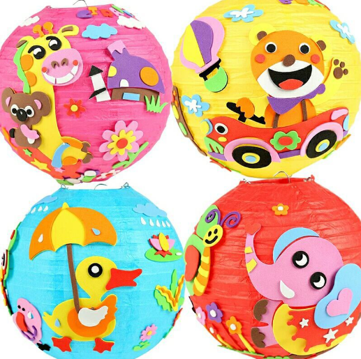 Children DIY handwork decoration cartoon paper lantern kindergarten paste production material package toys