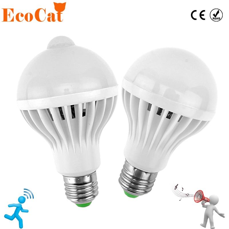 LED движения PIR Сенсор лампы 5 Вт 220 В светодиодные лампы 7 Вт 9 Вт 12 Вт Авто Smart LED ПИР Инфракрасный Средства ухода за кожей звук + свет E27 движения Сенсор свет