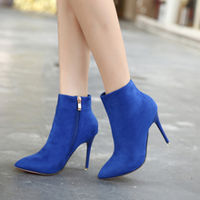 TTSDARCUPS New winter Martin boots High heel short boots with small Capsicum Fine Heel Ankle Boots short plush sexy women shoes 2016 new boots for women s shoes in europe and the former with a short tube of fine with high heels pointed martin boots