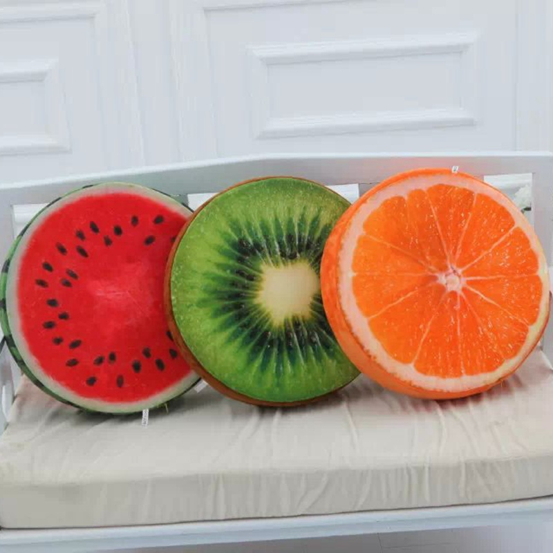 1pc 39cm*7cm Cool Fruits Plush Pillow Stuffed Watermelon Kiwifruit Orange Pillow Cushion Toys Kids Girls Gifts ...