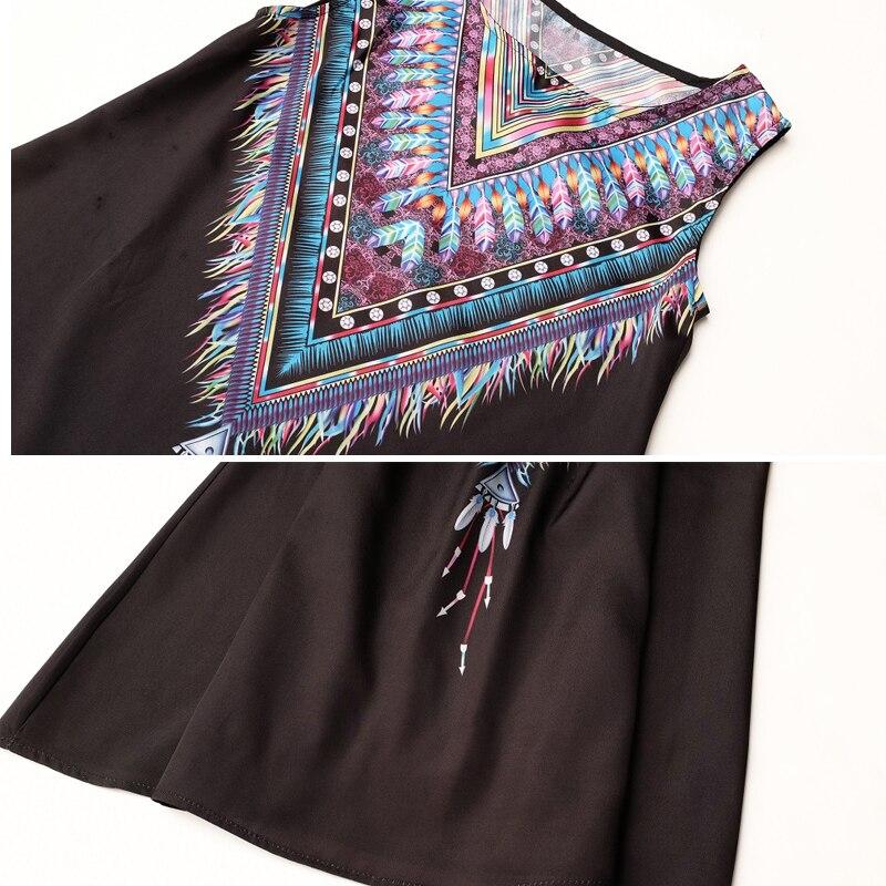 Vintage Print Women Dress O-neck Sleeveless Casual Dresses Boho Sexy Chiffon Beach Dress Summer Dress 2017 Brand New Vestidos