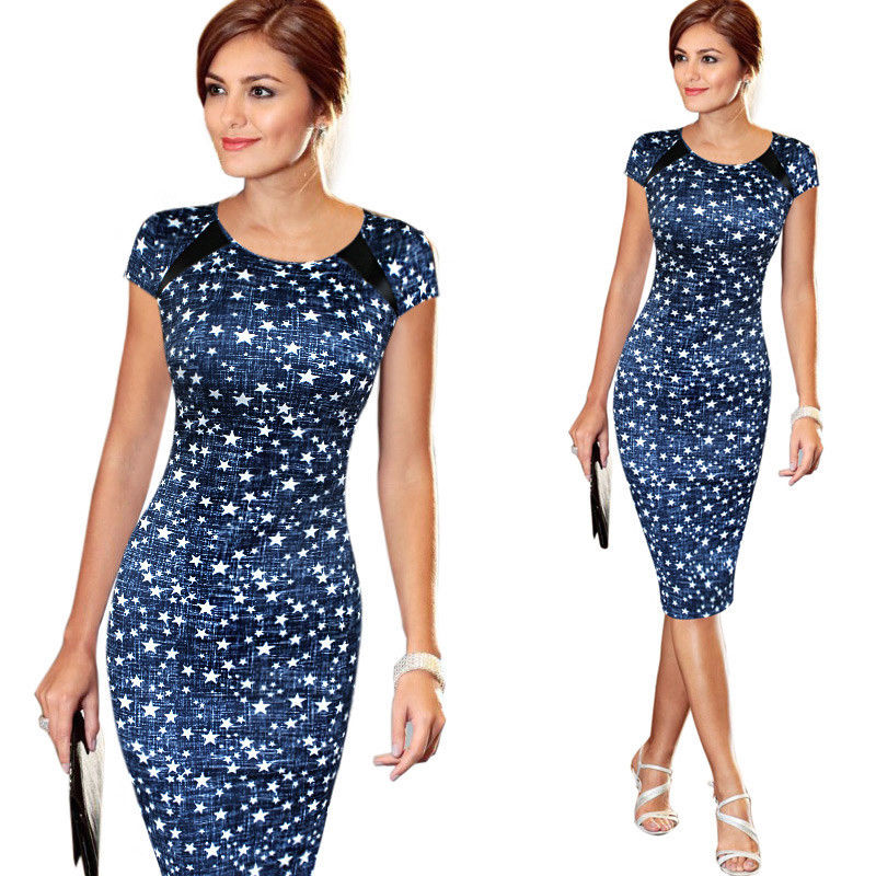 Fashion Women Bandage Bodycon Short Sleeve Sketch Print Dot Star Cocktail Knee Length Pencil Dress US