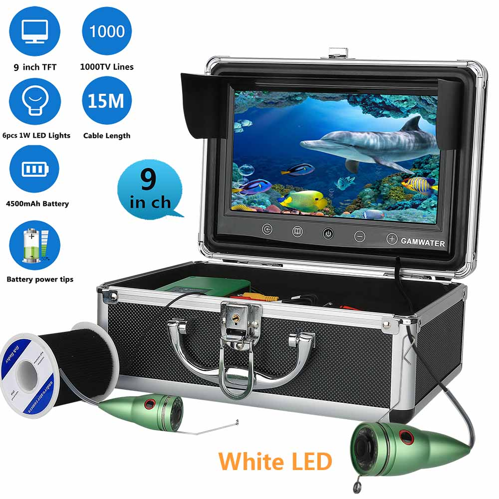 9 15M Touch Screen White LED Lights Adjustment Underwater River Sea Boat Fishing Camera Fishfinder Waterproof Night Vision