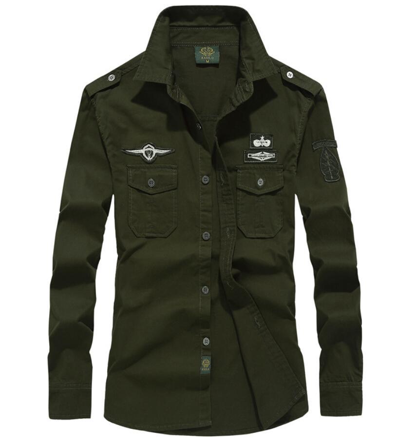 Spring And Autumn Men Cotton Military Style Shirt Large Size Loose Men's Retro World War II Naval Uniform Aviator Shirt