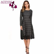 ACEVOG Women A-Line Dress Spring Autumn Vintage Style Long Sleeve Floral Lace  Femme Robe Fit and Flare Party Ladies Retro Dress 9e45bde5b
