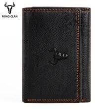 Мужской кожаный бумажник RFID, маленькие кошельки для карт, для мужчин, натуральная кожа, три сложения, тонкий мужской кошелек, кошелек с клапаном, ID Окно