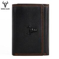 10c5aa330 Men Wallets Slim Card Wallet For Men Genuine Leather Trifold Wallet With ID  Window Walllet Men