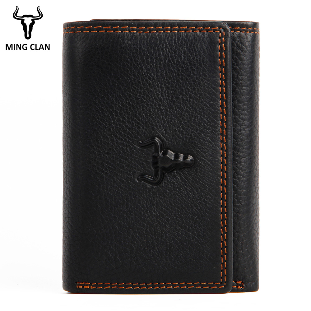 RFID Leather Wallet Men Small Card Wallets For Men Genuine Leather Trifold Slim Male Wallet Purse With Flap ID Window