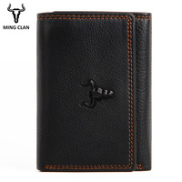 Trifold Wallet Genuine Leather Small Size Multy Card Wallet Three Fold Wallets Porte Carte Bancaire Purse for Men with Flip Part