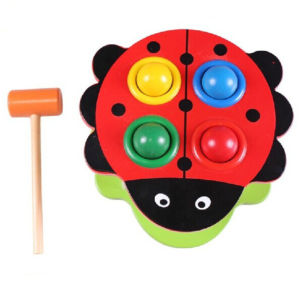 MamimamiHome Baby Toys Beech Wooden Montessori Teaching Aids Ladybug Piling Platform Baby Knock Ball Table Building Blocks delivery is free children s makeup geometric building blocks montessori teaching aids 8 sets wooden toys educational toys