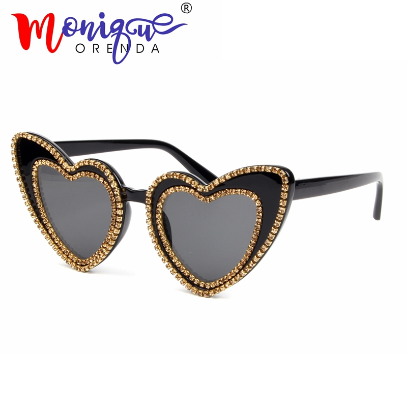 Sunglasses Shades Rhinestone Heart-Shape Retro Designer Fashion Men Luxury Women Brand