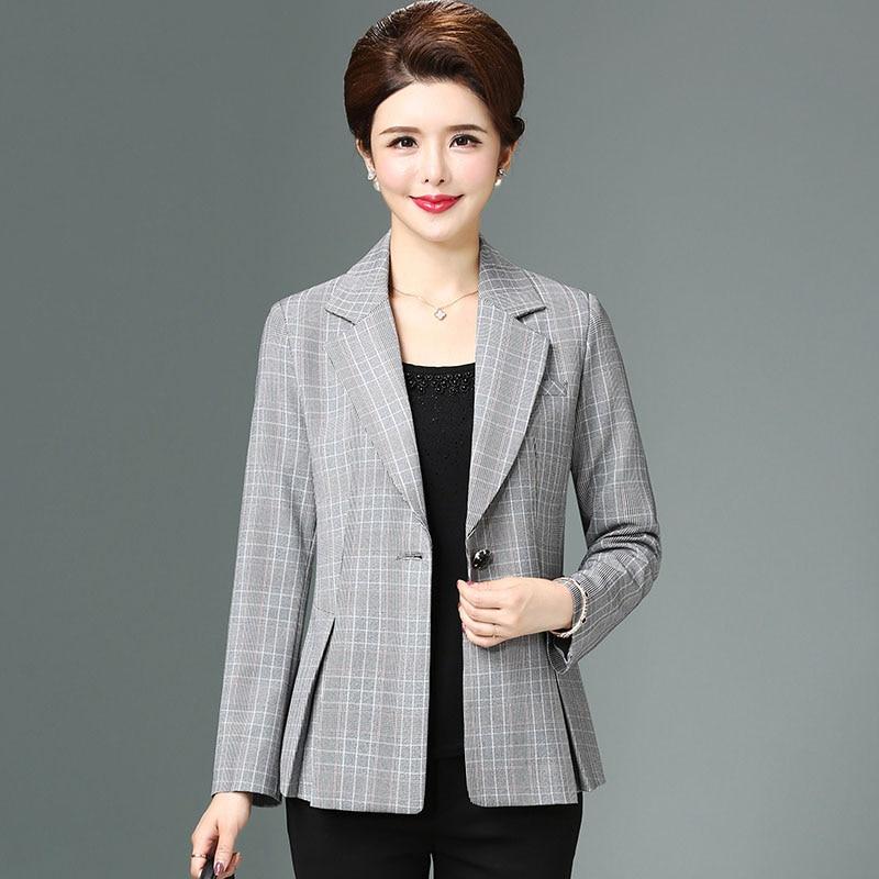 New arrival 2019 spring autumn houndstooth blazers women single button elegant slim jacket plus size(China)