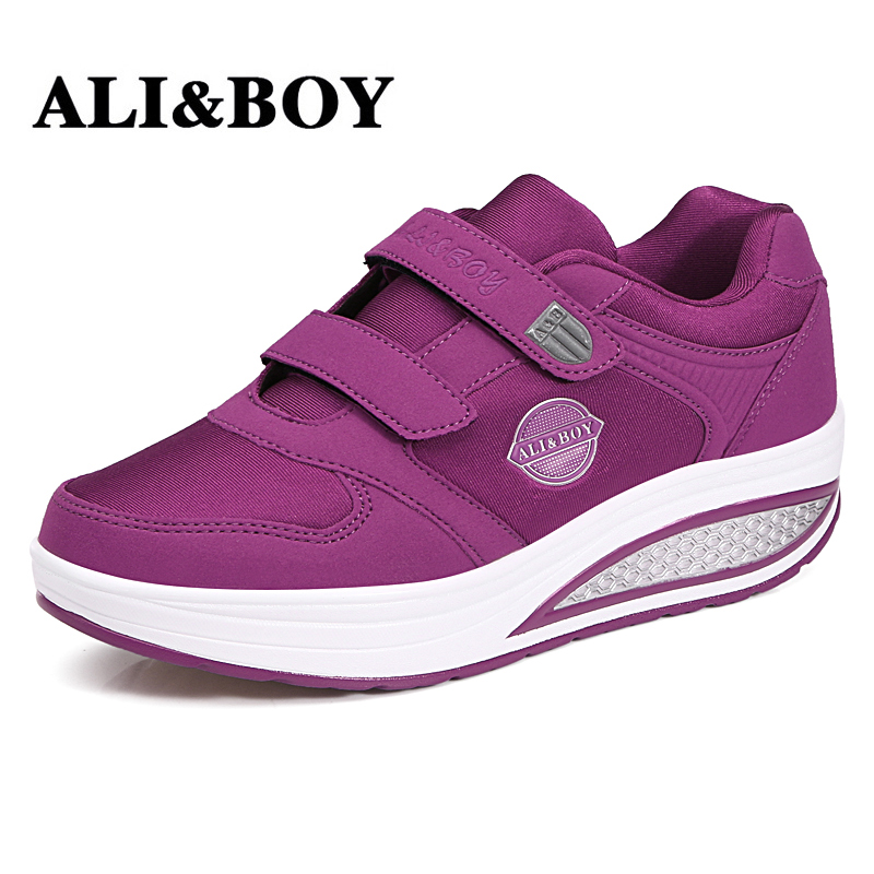 ALI&BOY Outdoor running Fitness Swing Platform Wedge Shoes Lady Lose Weight Sneakers spring autumn leather swing shoes female