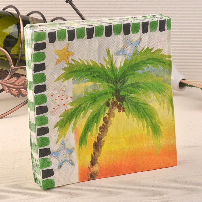 Wholesale 40pcs coconut tree sandbeach paper napkins food grade wholesale 40pcs coconut tree sandbeach paper napkins food grade tissue coffee bar shop wedding table accessories party placemat in disposable party junglespirit Images