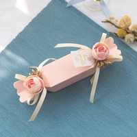 20pcs/lot Candy shaped sugar box Solid color Candy Boxes With Double Ribbon cardboard box Wedding Party Favor Gift Candy Box