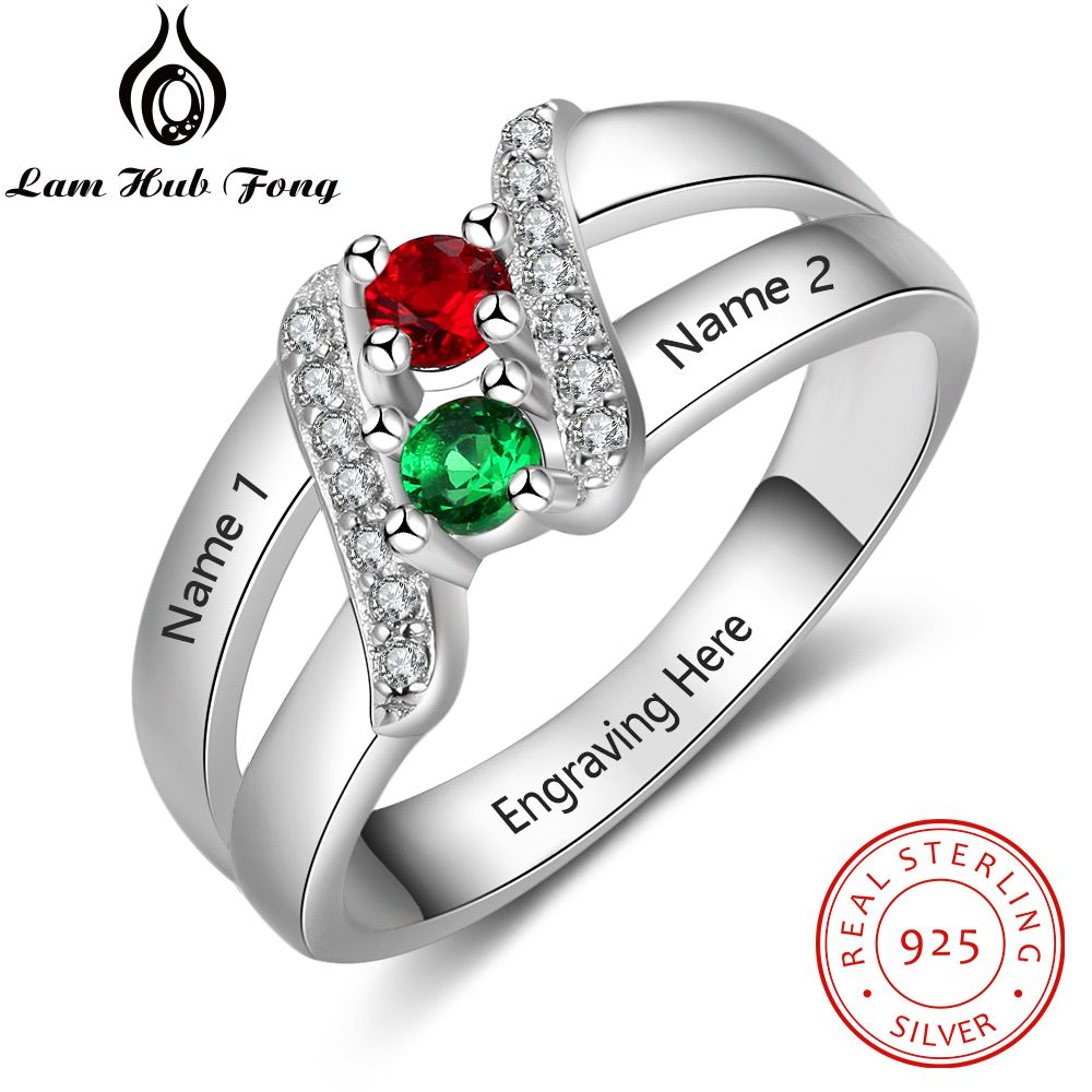 Personalized Gift Customized 12 Month Birthstone Ring Real 925 Sterling Silver Engraved Name Ring Wedding Jewelry (Lam Hub Fong)Personalized Gift Customized 12 Month Birthstone Ring Real 925 Sterling Silver Engraved Name Ring Wedding Jewelry (Lam Hub Fong)