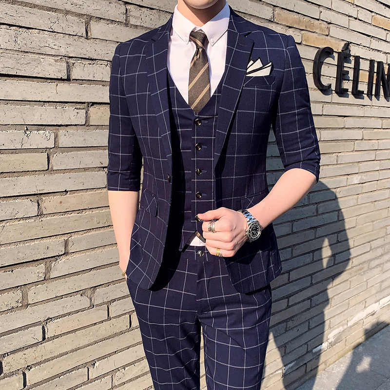 Short Sleeve Summner Men Plaid Suit Costume 3 Pieces Homme Gray Navy Blue Wedding Suit For Men 2019 Men's Suits Formal Q307