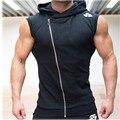 2016 Novos Homens Da Marca Do Hoodie Moletons Treino de Fitness Sem Mangas T-shirt Camisa de Algodão Singlets Colete Com Capuz da Camisola