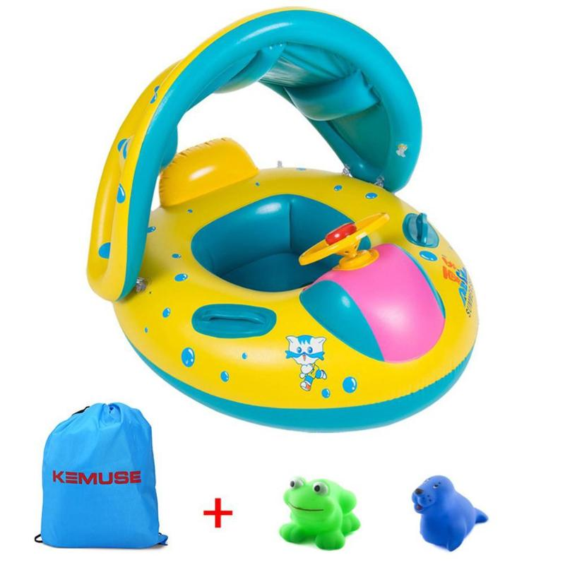 Kids Summer Swimming Ring PVC Inflatable Float Seat Toys For Children Swim Pool Toy With Sunshade Swimming Float Boat Seat