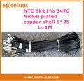 Livre o Navio 5 K 1% 3470 NTC sensor de temperatura 5*25mm niquelado shell cobre comprimento 1 M Sensor NTC