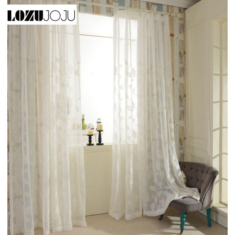 US $8.35 49% OFF|LOZOJOJU Vorhang wohnzimmer behandlungen leinen panel  fenster küche tüll Bestickt moderne weiß design sheer schlafzimmer tür-in  ...