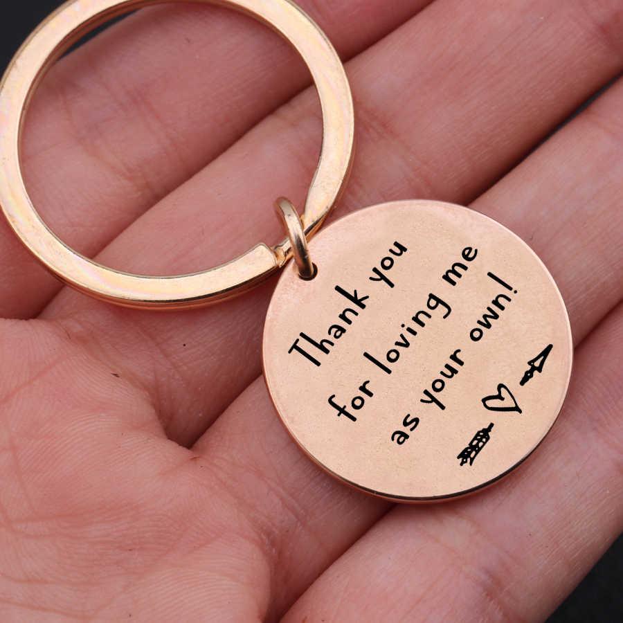 """""""Dziękuję za mnie kochać, jak własne"""" na dzień matki prezent urodzinowy biżuteria dla kroku rezerwacji mama tata moda brelok grawerowane ręcznie"""