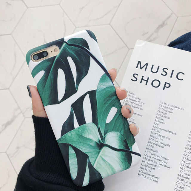 Ultra Thin Summer Plants Banana Leaves green Phone Cases For iphone X 7 7 Plus 6 6S Plus 8 8 Plus Cool Hard PC Back Cover Shell