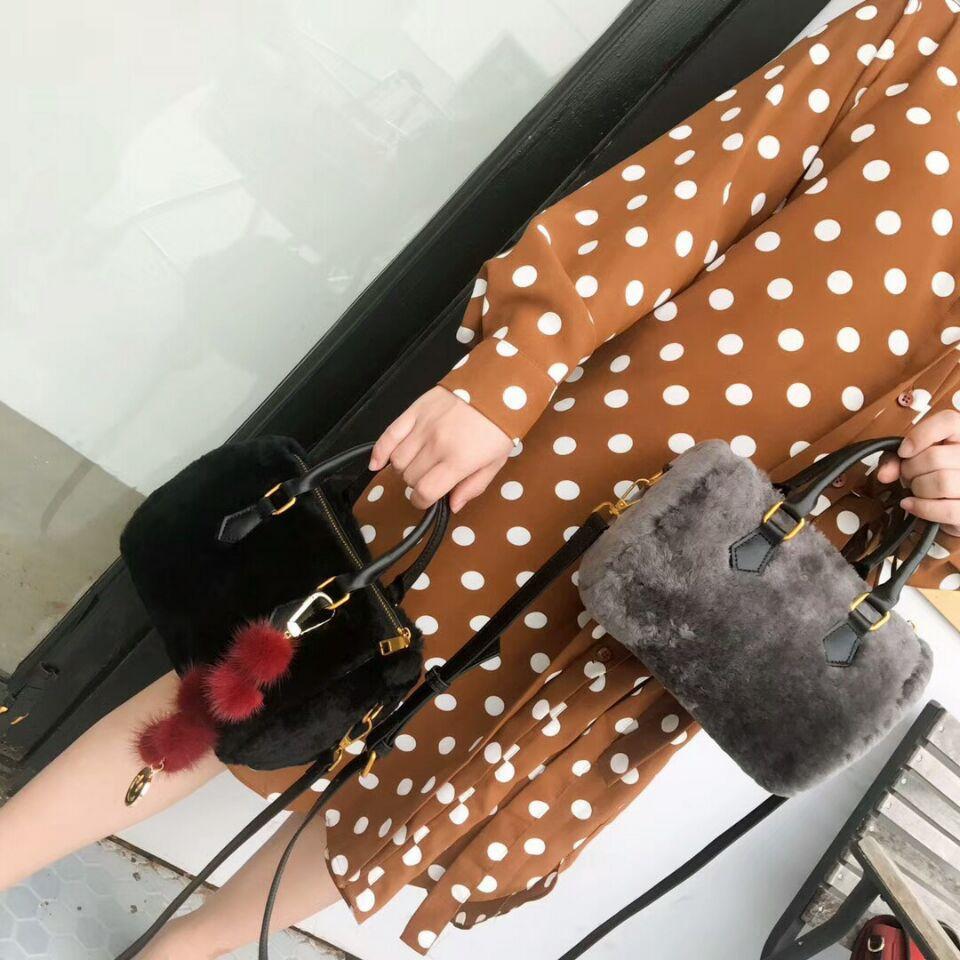 Мини сумка новая кожаная сумка на молнии женская осенняя и зимняя меховая сумка из овечьей шерсти Бостонская сумка кожаная сумка - 2