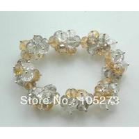 Stunning Crystal Jewelry White Grey Champagne Crystal Beads Bracelet 6 8mm 8'' Elastic Bracelet Handmade Jewellery Free Shipping