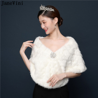 JaneVini 2019 Fashion Ivory Bridal Faux Fur Shawls and Wraps for Wedding Party Capes Jackets Women Winter Warm Coats Bont Bolero