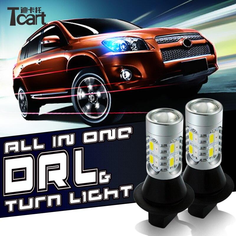 Tcart Auto Led clignotant avant DRL feux de jour tout en un pour Chevrolet Sonic Auto lampes Led PY21W BAU15S 1156