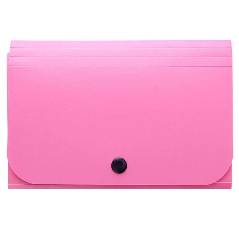 A6 Ticket Bag 13-button Organ Bag Multi-layer Certificate Data Storage Bag Folder Receipt Folder Pink